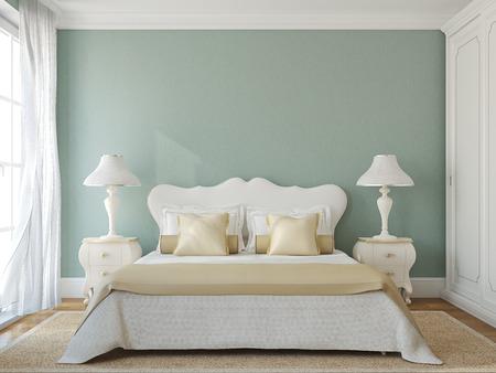 Klassieke slaapkamer interieur. 3d render.