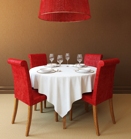 restaurant table: Interior with round table and four red chairs. 3d render.