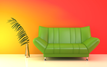 green couch: Interior with modern green couch near the colorful wall.