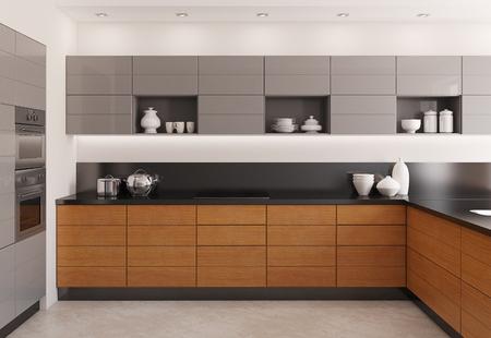 cucina moderna: interior cucina moderna. Rendering 3D.
