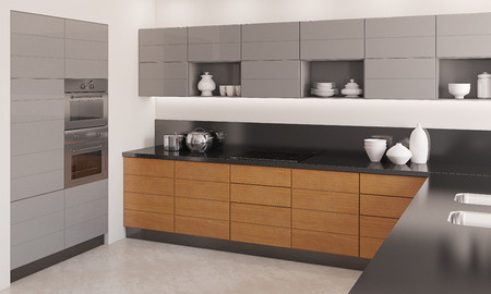 new kitchen room: Modern kitchen interior. 3d  render.