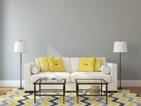 asiento: Interior moderno de la sala de estar con sof� blanco cerca de la pared gris vac�a. 3d. Foto en la portada del libro fue hecha por m�. Foto de archivo