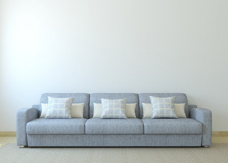 white sofa: Modern living-room interior with gray couch near empty white wall. 3d render.