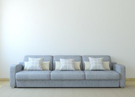 case moderne: Modern living-sala interna con divano grigio vicino alla parete bianca vuota. Rendering 3D.