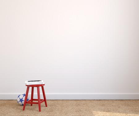 Binnenland van speelkamer met rode stoel in de buurt van lege witte muur. 3d render. Stockfoto