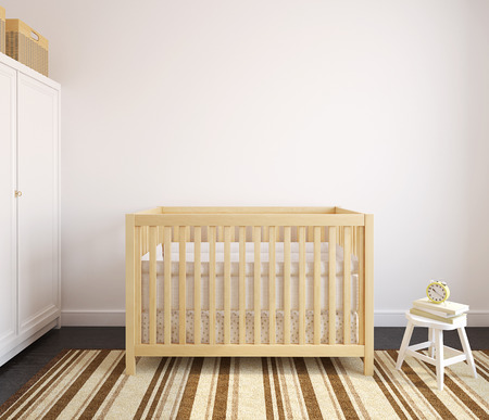 baby bed: Interior of nursery with wooden crib.  3d render.