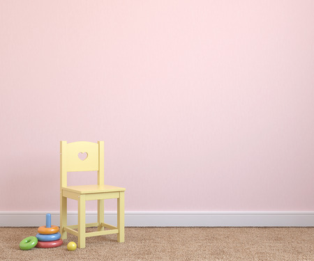 Binnenland van speelkamer met gele stoel dichtbij lege roze muur. 3d render.