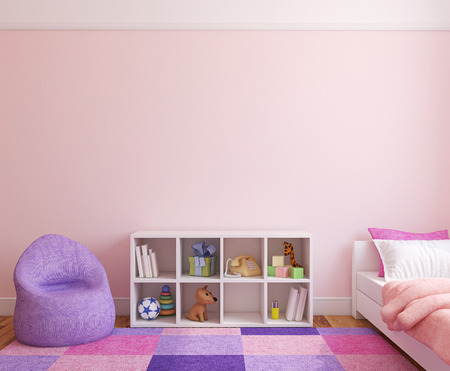 bedroom wall: Colorful playroom interior. 3d render.