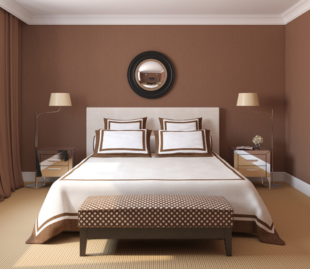 luxury bedroom: Modern bedroom interior. 3d render.