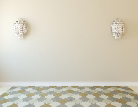 Interior. Empty room with two sconce. 3d render. Stock Photo