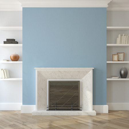 Interior with fireplace. 3d render.