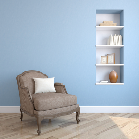 home front: Interior with armchair. 3d render.