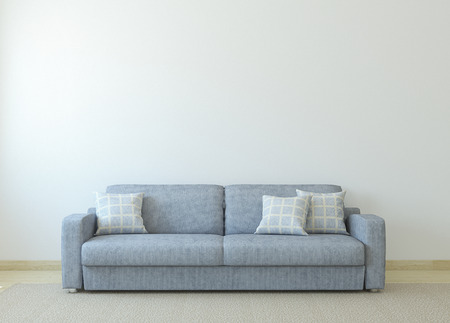 Modern living-room interior with gray couch near empty white wall. 3d render.