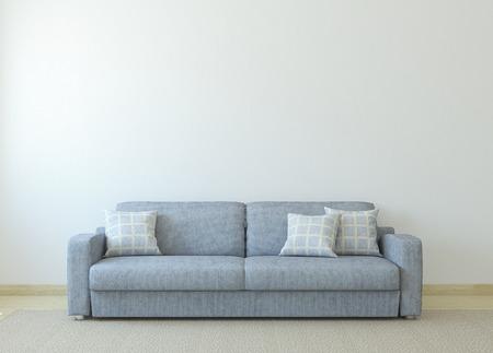 Moderne woonkamer interieur met grijze bank in de buurt van lege witte muur. 3d render.