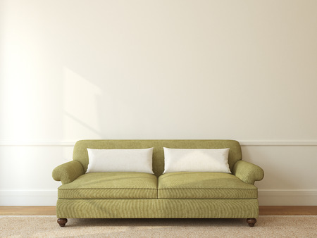 green couch: Modern living-room interior with green couch near empty beige wall. 3d render. Stock Photo