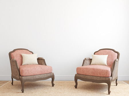 interior walls: Interior with two armchairs. 3d render.