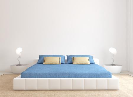 cama: Interior del dormitorio moderno. Minimalismo. 3d.