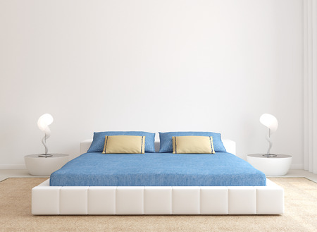 bed: Modern bedroom interior. Minimalism. 3d render.