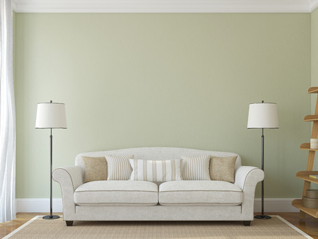 room decor: Modern living-room interior with white couch near empty green wall. 3d render.