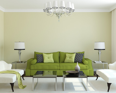 white room: Modern living-room interior with green couch.3d render. Stock Photo