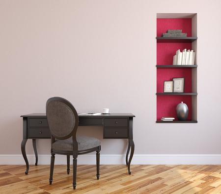 Home office interior. 3d render.