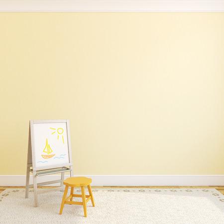 Colorful playroom interior. 3d render.