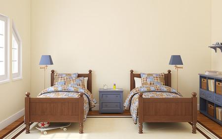 gemelas: Interior del dormitorio para dos ni�os. 3d.