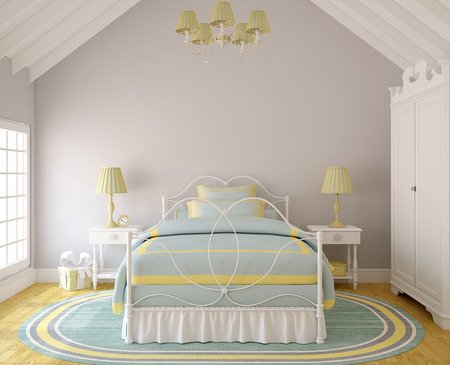 Interieur van de slaapkamer voor meisje. 3d render. Stockfoto