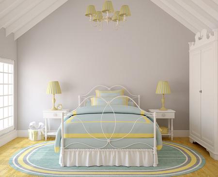 Interior of  bedroom for little girl. 3d render.