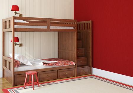 wood furniture: Bedroom interior for two children. 3d render. Stock Photo