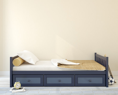 Interiér nursery.Bedroom pro chlapce. 3d render.