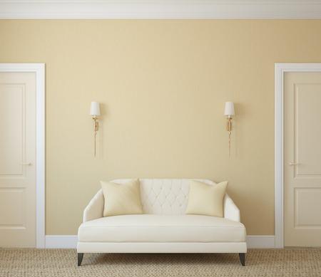 Modern hallway interior. 3d render.