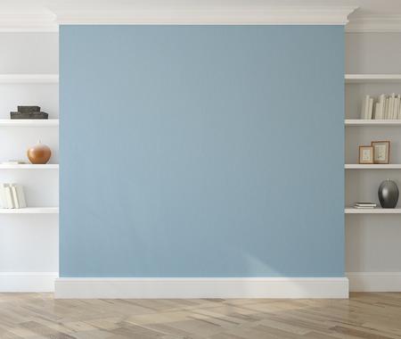 Intérieur avec vide mur bleu et des étagères. 3d render.