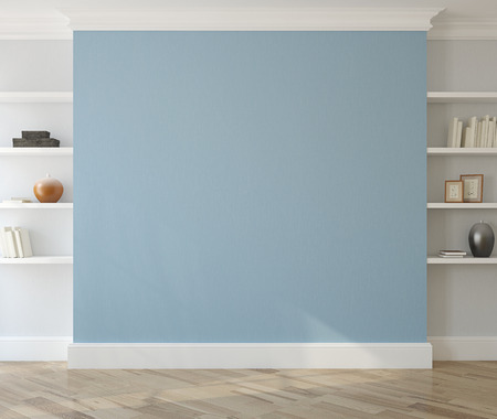 Interior with empty blue wall and shelves. 3d render. Stockfoto