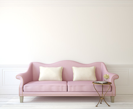 couches: Romantic interior with pink couch near empty white wall. 3d render. Stock Photo