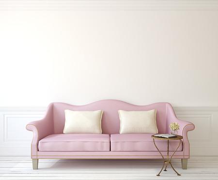 Romantische inter met roze bank in de buurt van lege witte muur. 3d render. Stockfoto
