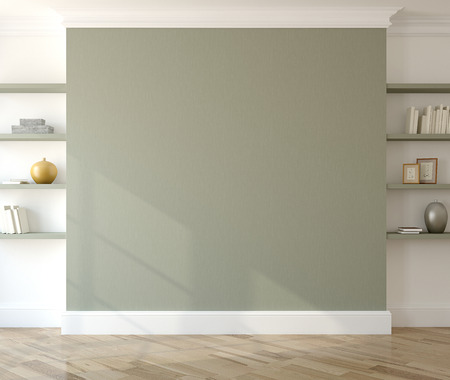 home interior: Interior with empty green wall and shelves. 3d render. Stock Photo