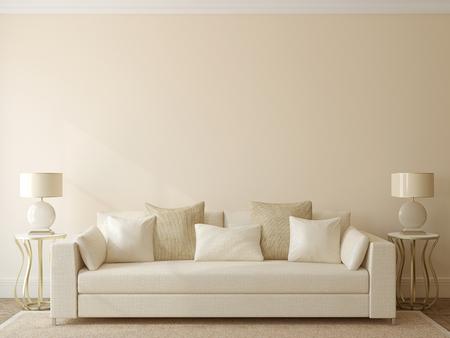 Moderne woonkamer interieur met witte bank in de buurt van lege beige muur. 3d render. Stockfoto