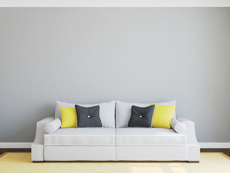 grey rug: Modern living-room interior with gray couch. 3d render.