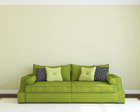 green couch: Modern living-room interior with green couch. 3d render.
