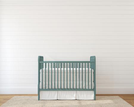 école maternelle: Intérieur de pépinière avec berceau vintage. 3d render.