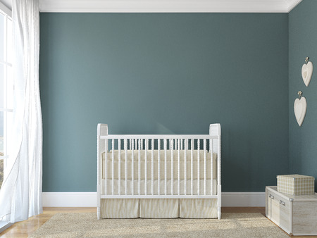 nursery room: Interior of nursery with vintage crib. 3d render. Photo behind the window was made by me.