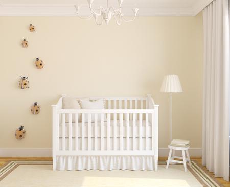 bedroom wall: Iinterior of nursery with crib. Frontal view. 3d render.