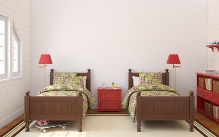 double bed: Interior of bedroom for two children. 3d render.