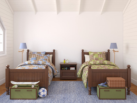 case colorate: Interno della camera da letto per due bambini. Rendering 3D. Archivio Fotografico