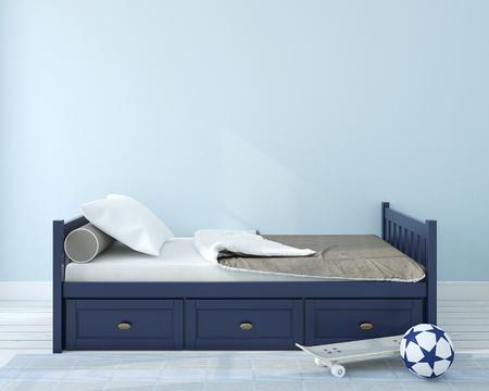 Interior of nursery.Bedroom for boy. 3d render.
