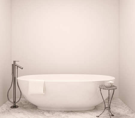 bath: Interior of modern bathroom. 3d render.