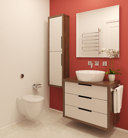 Modern bathroom. 3d render. Stock fotó