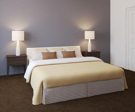 render: Modern bedroom interior. 3d render.