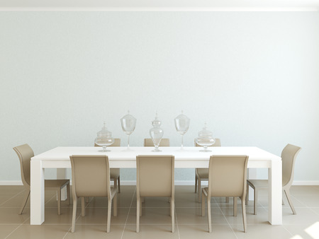 diningroom: Modern dining-room interior for eight persons.3d render. Stock Photo